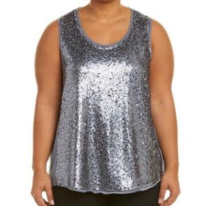NIC+ZOE Twinkle Night knit tank with sequin front